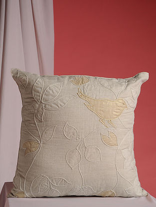 Off-White Hand Embroidered Linen and Jute Cushion Cover (16in x 16in)