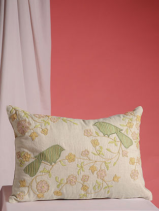 Off-White-Multicolor Hand Embroidered Cotton and Linen Cushion Cover (17in x 12in)