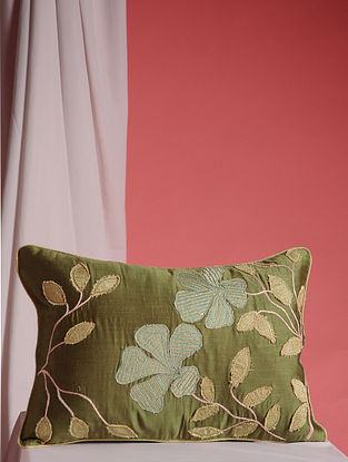 Green-Multicolor Hand Embroidered Cotton and Linen Cushion Cover (17in x 12in)