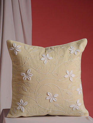 Yellow and White Hand Embroidered Linen Cushion Cover (16in x 16in)