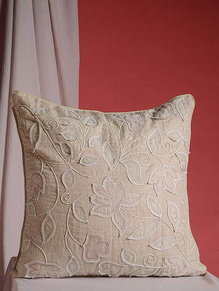 Beige Hand Embroidered Cotton and Linen Cushion Cover (16in x 16in)
