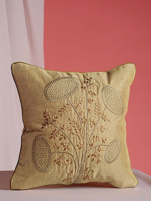Beige Hand Embroidered Jute Cushion Cover (12in x 12in)