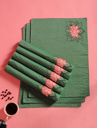 Green and Pink Hand Embroidered Chanderi Table Mats (Set of 8) (18in x 13in)