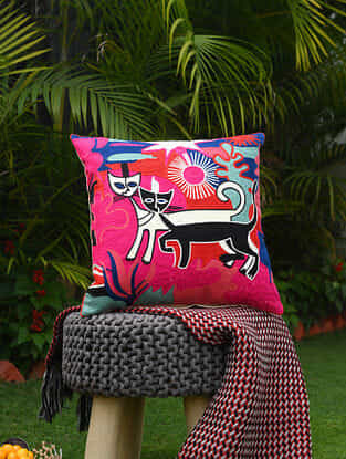 Multicolor Acrylic Embroidered Two Cats Cotton Cushion Cover (18in x 18in)