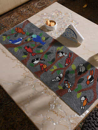 Grey-Multicolor Handcrafted Polyester Bird Table Runner (35in x 13in)