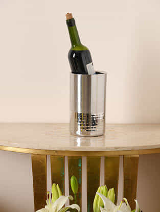 Silver Handcrafted Stainless Steel Wine Cooler (Dia - 5in, H - 8.5in)