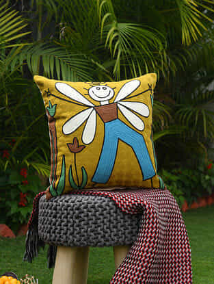 Mustard-Multicolor Acrylic Embroidered Boy with Wings Cotton Cushion Cover (18in x 18in)