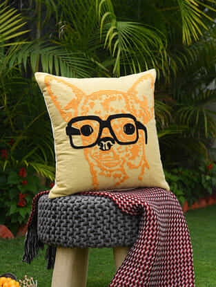 Beige and Yellow Acrylic Embroidered Dog with Spectacle Cotton Cushion Cover (18in x 18in)