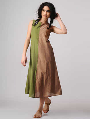 Green-Brown Mangalgiri Cotton Dress with Pockets