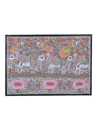 Elephant, Fish and Peacock Madhubani Painting - 22.2in x 30.1in