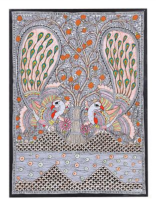 Twin Peacock Madhubani Painting - 30.1in x 22.2in