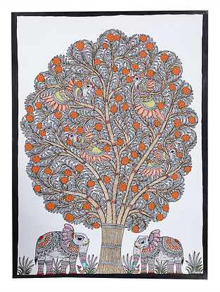 Tree of Life and Elephant Madhubani Painting - 30.1in x 22.2in