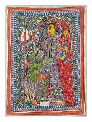 Ardhanarishwar Madhubani Painting - 30.2in x 22.1in