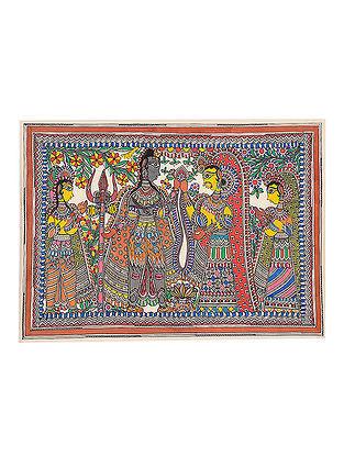 Shiva-Parvati Madhubani Painting - 22.1in x 30.2in