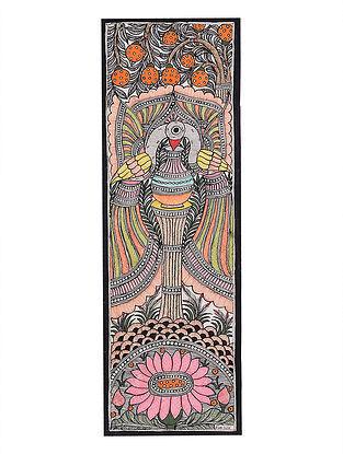 Twin Peacock Madhubani Painting - 22.8in x 7.8in