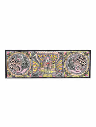 Fish and Peacock Madhubani Painting - 7.6in x 22.5in