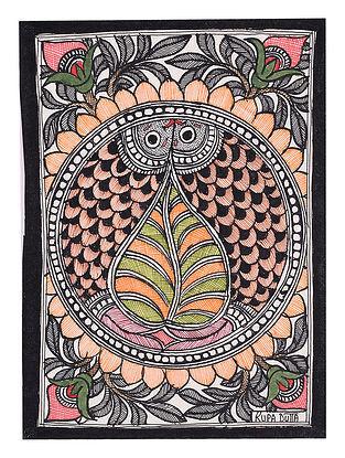 Twin Fish Madhubani Painting - 7.6in x 5.5in