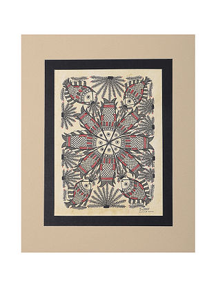 Fish Mounted Madhubani Painting - 11in x 9in