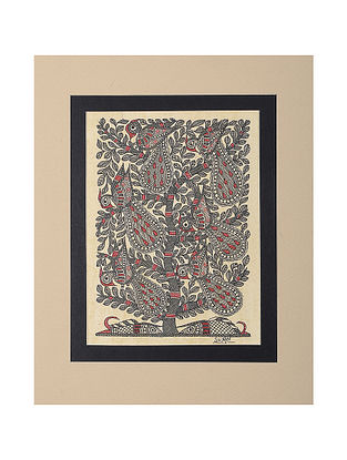 Tree of Life and Peacock Mounted Madhubani Painting - 11in x 9in