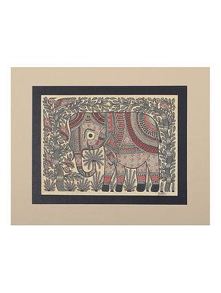 Elephant Mounted Madhubani Painting - 9.1in x 11in