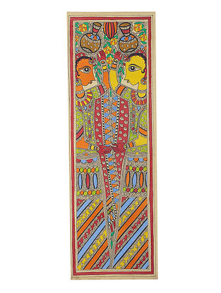 Ladies carrying Pot Madhubani Painting - 22in x 7.5in