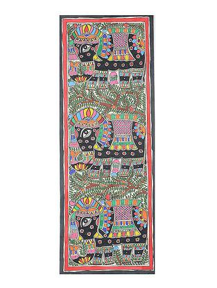 Elephant Madhubani Painting (30.3in x 11in)