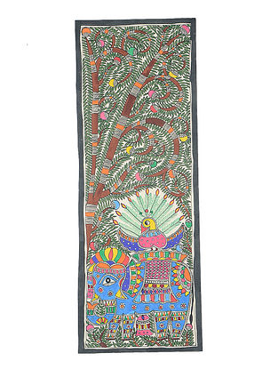 Tree of Life with Peacock Madhubani Painting (30.3in x 11in)