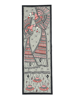 Peacock with Fish Madhubani Painting (22.3in x 7.3in)