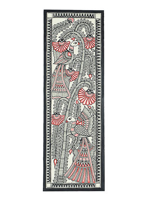 Tree of Life with Bird Madhubani Painting (22.3in x 7.3in)