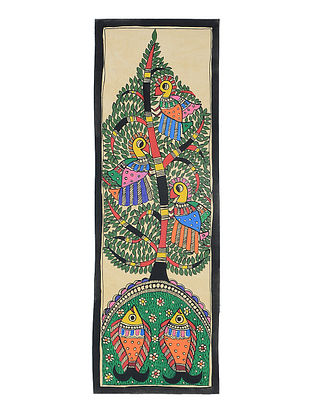 Tree of Life with Fish Madhubani Painting (22in x 7.3in)