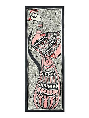 Peacock with Fish Madhubani Painting (15in x 5.5in)