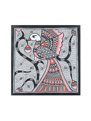Peacock Madhubani Painting (7.3in x 7.3in)