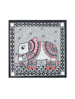 Elephant Madhubani Painting (7.2in x 7.2in)