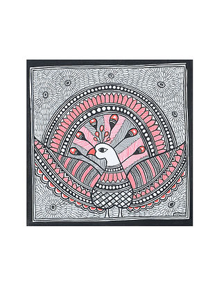 Peacock Madhubani Painting (7.2in x 7.2in)