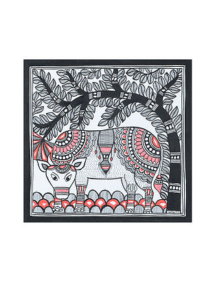 Cow Madhubani Painting (7.2in x 7.2in)