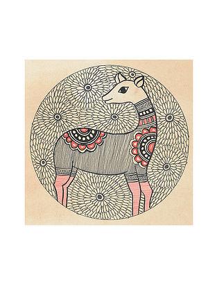 Deer Madhubani Painting (5.3in x 5.3in)