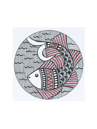 Fish Madhubani Painting (5.3in x 5.3in)