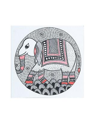 Elephant Madhubani Painting (5.2in x 5.2in)