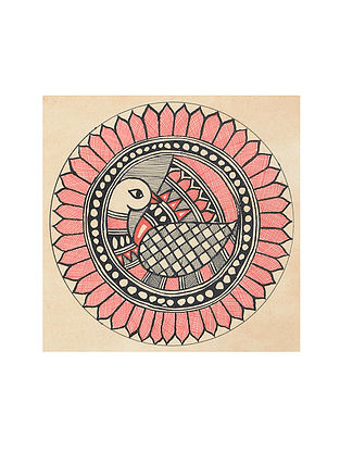 Peacock Madhubani Painting (5.3in x 5.3in)