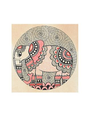 Elephant Madhubani Painting (5.3in x 5.3in)