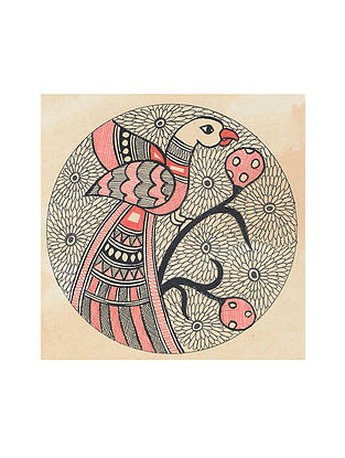 Parrot Madhubani Painting (5.3in x 5.3in)