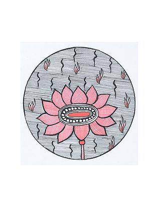 Lotus Madhubani Painting (5.3in x 5.3in)