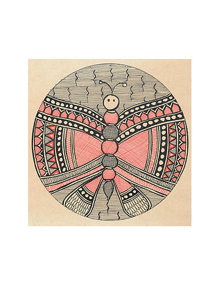Butterfly Madhubani Painting (5.3in x 5.3in)