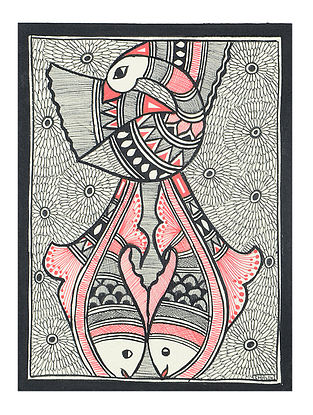 Fish with Peacock Madhubani Painting (7.3in x 5.5in)