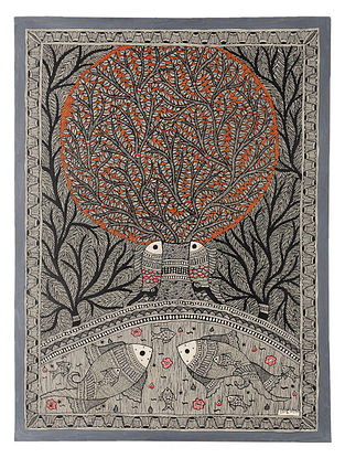 Tree of Life with Fish Madhubani Painting (30in x 22in)