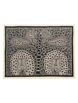 Tree of Life with Peacock Madhubani Painting (22in x 30in)