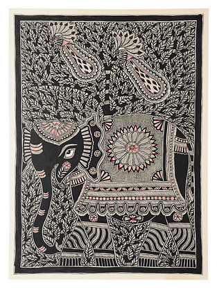 Tree of Life with Elephant Madhubani Painting (30in x 22in)