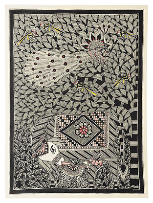 Cow with Peacock Madhubani Painting (22in x 30in)