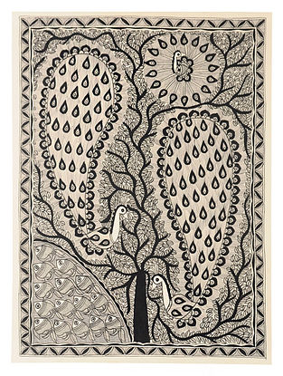 Tree and Peacock Madhubani Painting (30in x 22in)