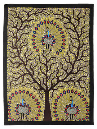 Tree with Peacock Madhubani Painting (30in x 22in)
